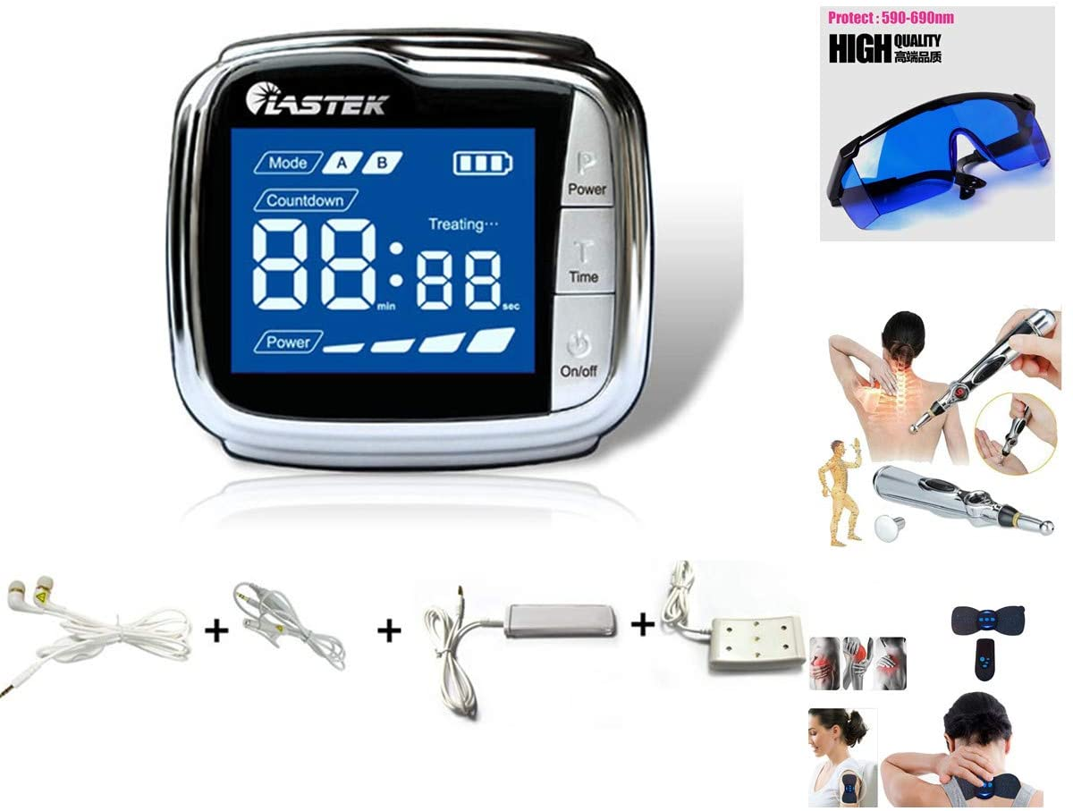 LASTEK Cold Laser Therapy Wrist Watch 650nm Semiconductor LLLT Acupuncture Watch Helps to Cure Diabetes, Hypertension,Lower Blood Pressure for Tinnitus Hearing Loss Ringing Ear, Research Backed