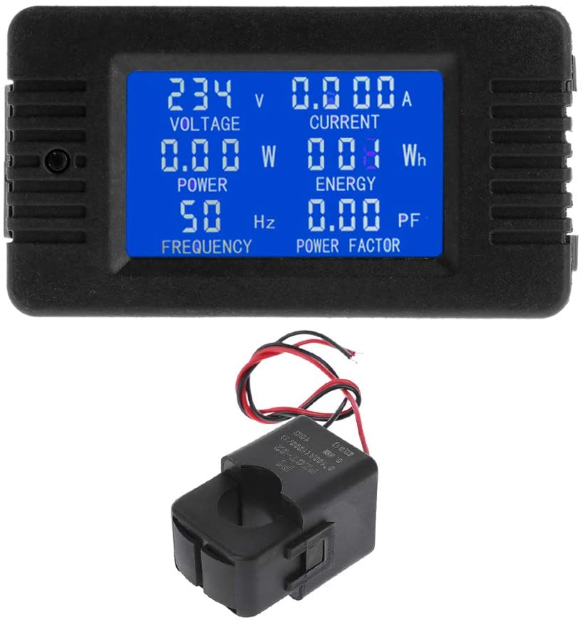 Rhfemd AC 100A 6in1 Digital Power Energy Monitor Voltage Current KWh Watt Meter AC 80~260V 110V 220V with Split CT