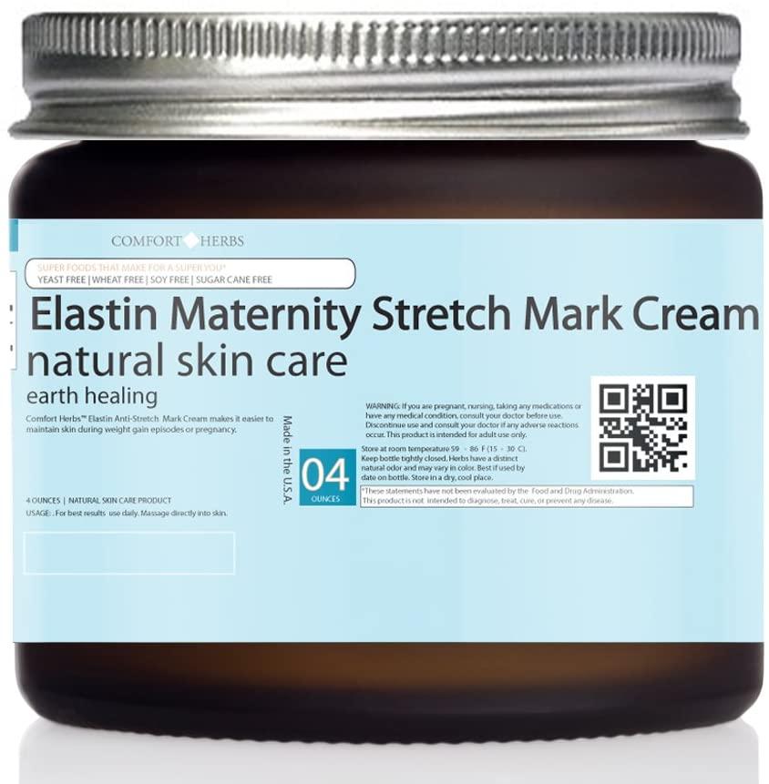 Maternity Stretch Mark Cream (Elastin, Arnica,Vitamin E) Breastfeeding, Pregnancy Belly, Expanding Waistline