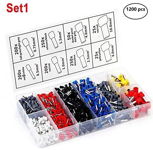 Davitu Terminals - HOT 1200pcs Wire Terminal Crimp Connector Insulated Uninsulated Wire End Ferrules TI99 - (Color: set 1)