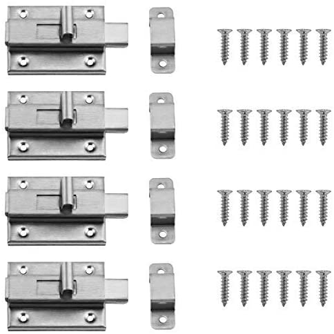 OCR 4PCS 3 Inch Door Bolts Stainless Steel Latch Sliding Door Lock Surface Mounted Slide Bolt for All Types of Internal Doors