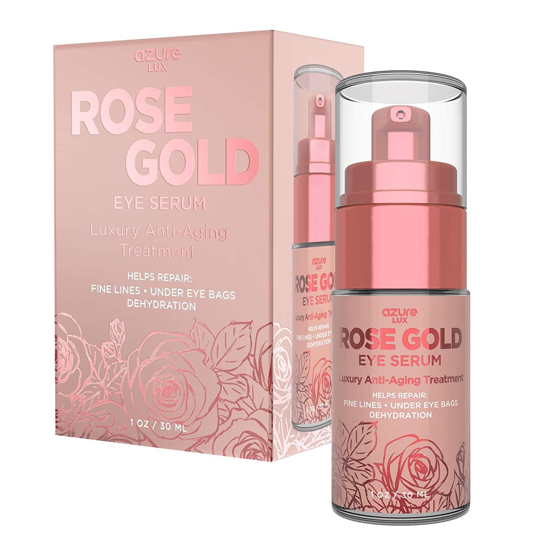 AZURE Rose Gold Luxury Anti Aging Eye Serum Treatment - Moisturizing, Toning & Anti Aging   Reduces Wrinkles, Fine Lines & Under Eye Bags   Combats Pollutants & Dehydration - 30mL