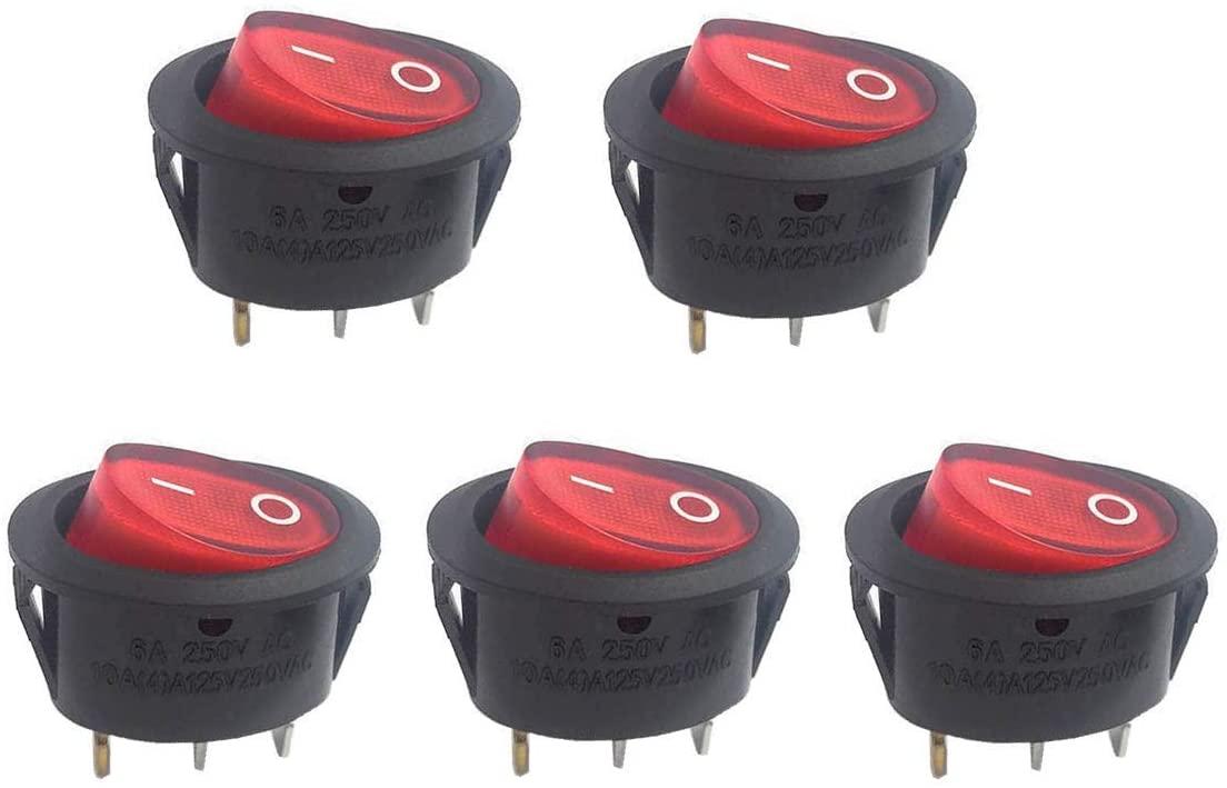 Auxcell 5 PCS AC250V6A/125V10A Red Light Boat Switch ON/Off Rocker Switch,Ellipse