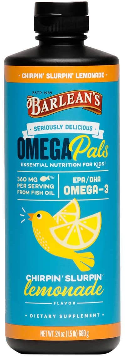 Evaxo OmegaPals Kids Omega-3 Lemonade Flavor, 24 Ounces Sustainably Harvested, Non-GMO, Gluten, Sugar & Dairy Free .#B