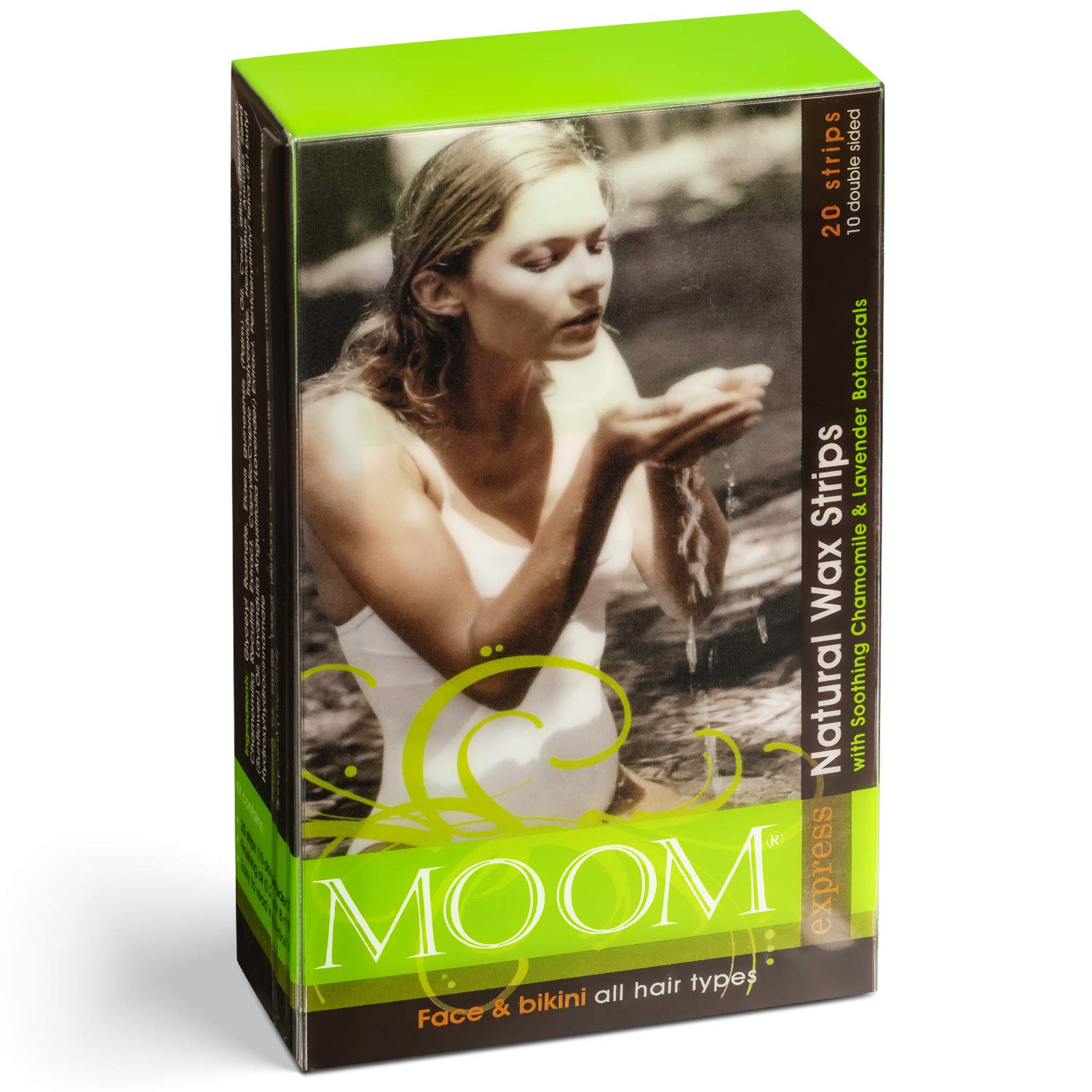 MOOM Face and Eyebrow Waxing Strips for Women with Natural Soothing Chamomile & Lavender Hair Waxing Strips with Vitamin E Finishing Oil – Perfect for Face & Bikini (20 Pre-Waxed Strips) 1 Pack