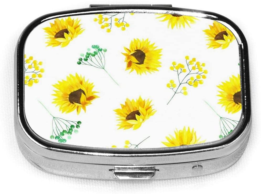 Pill Organizer Pill Box Sunflower Branch Yellow and Green Pill Cases for Purse Dispenser Container Planner Vitamin Travel for Reminder Rectangular Pillbox