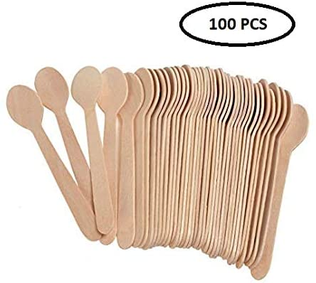 Pack of 100 Wooden Spoon For Home/Party/Kitchen Use, Ice Cream Dessert Spoons Disposable Wood Cutlery Tableware for Crafts, Organic Sugar Scrubs, Wooden Tea Spoons