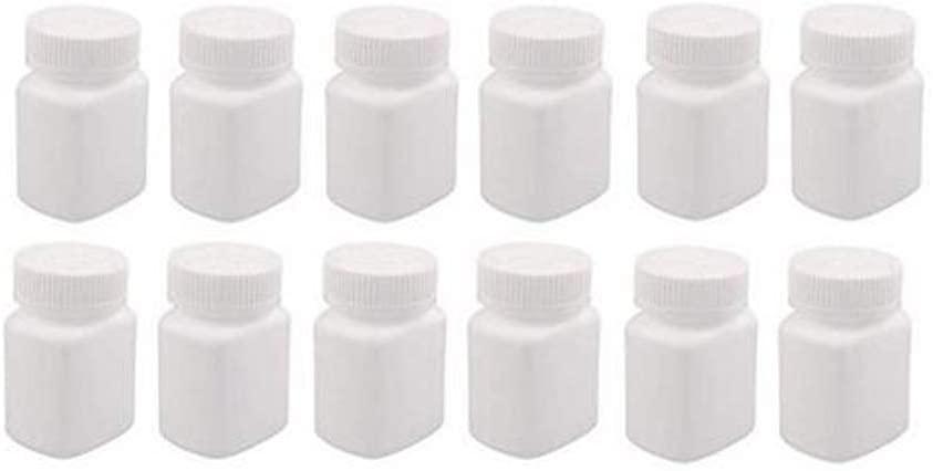 12Pcs 60ml/60g/2oz Empty Plastic Pill Bottles Square Capsule Bottle Easy Carry Solid Powder Medicine Bottles Pill Sample Tablet Container Holder Case(White)