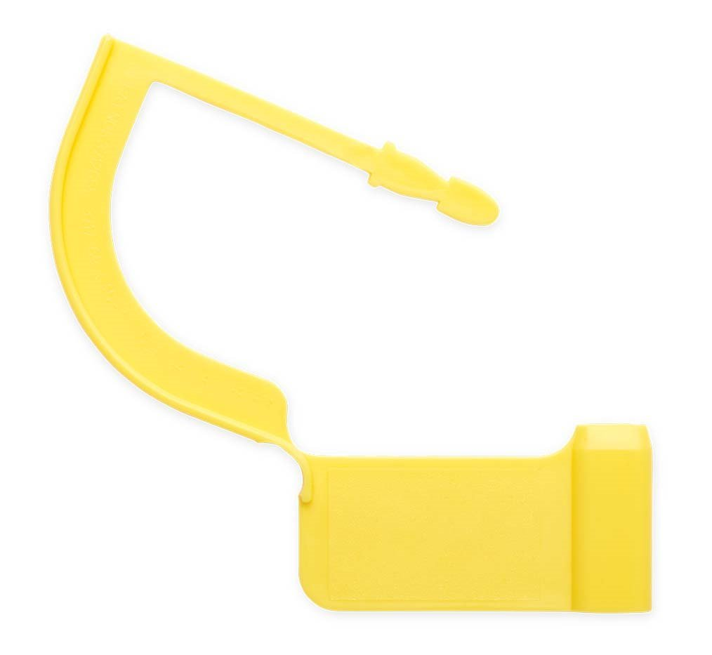 Cutting Edge - Security Tags Regular Padlock, Custom Color & Printing Available, Can be consecutively Numbered or Custom Printed (10,000 Minimum),Yellow Max Temp 270F/133C, Large, 100 pcs/Bag