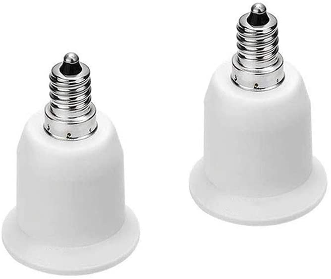 Light Socket Adapter, 2 Pcs Bulb Base Converter(E12 to E27)