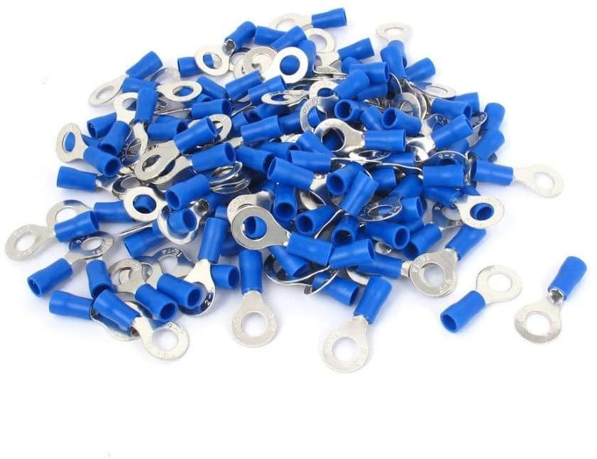 Onvas 500pcs RV2-6 Pre Insulated Ring Terminals Blue for 1/4