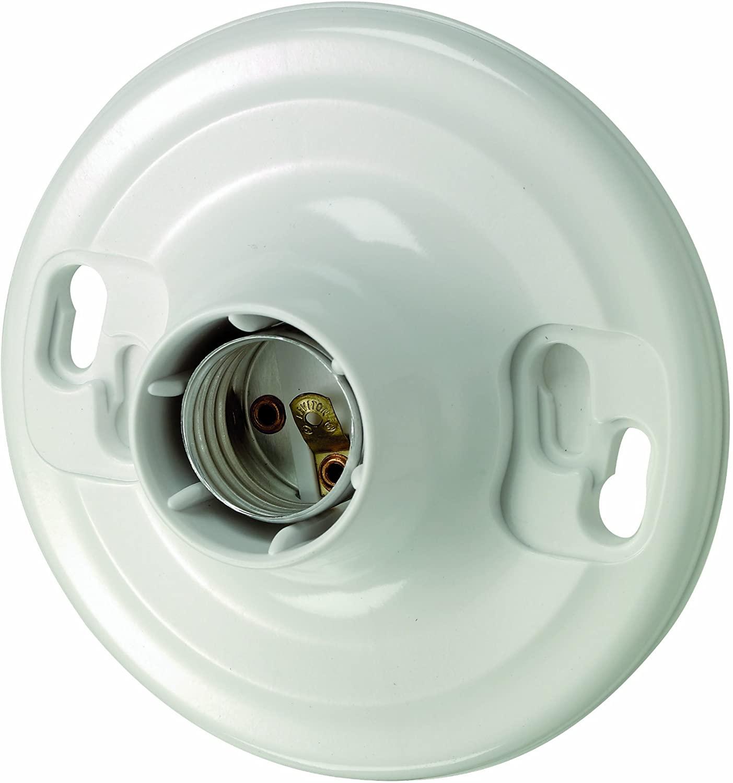 Leviton 8829-CW4 One-Piece Urea Outlet Box Mount, Incandescent Lampholder, White