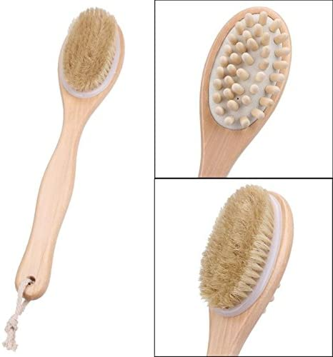 VADOLY 35Cm 2-in-1 Sided Natural Bristles Scrubber Long Handle Wooden Spa Shower Brush Bath Body Massage Brushes