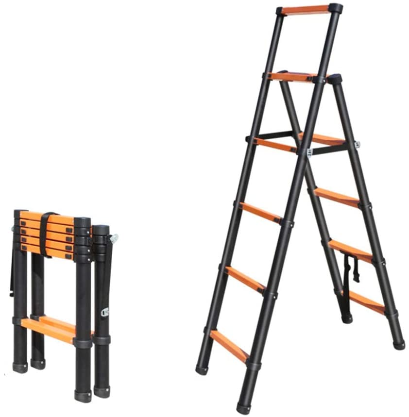 Jian E Extension Ladder Telescopic Ladder Folding Telescopic Portable Aluminum Ladder Load 330lb Suitable for Construction Industry Family House Repair // (Size : 6.5ft)