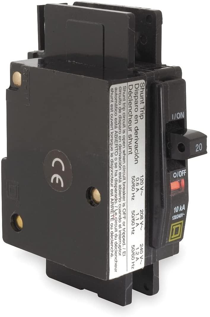 Square D - QOU1201021 - Miniature Circuit Breaker, Amps 20, Circuit Breaker Type Shunt Trip, Number of Poles 1