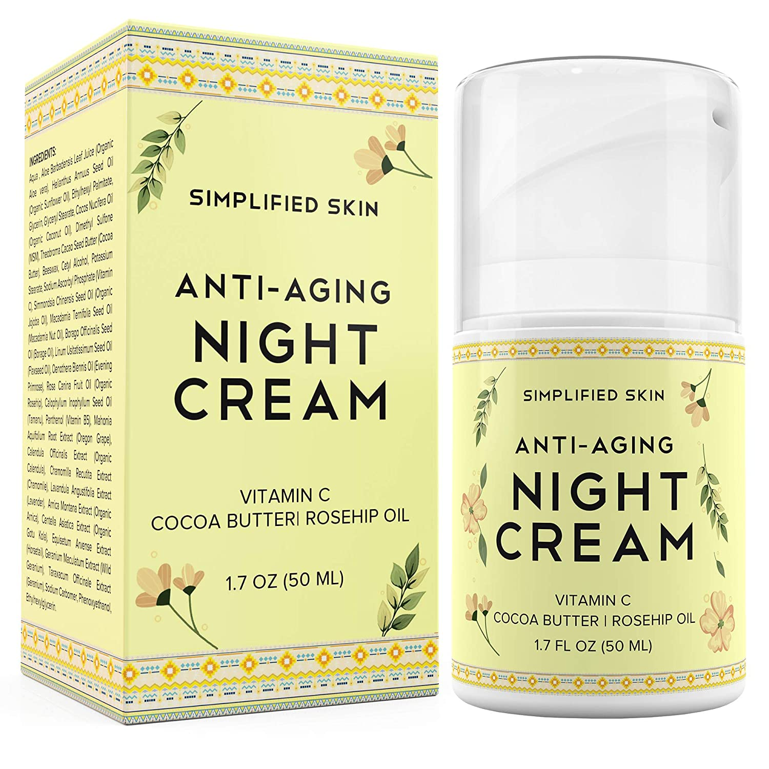 Anti-Aging Night Cream for Face - Collagen Boost, Fine Lines + Wrinkle. Facial Vitamin C Moisturizer with Cocoa Butter + Organic Rosehip Oil. Best Natural Cream for Women + Men by Simplified Skin 1.7 oz