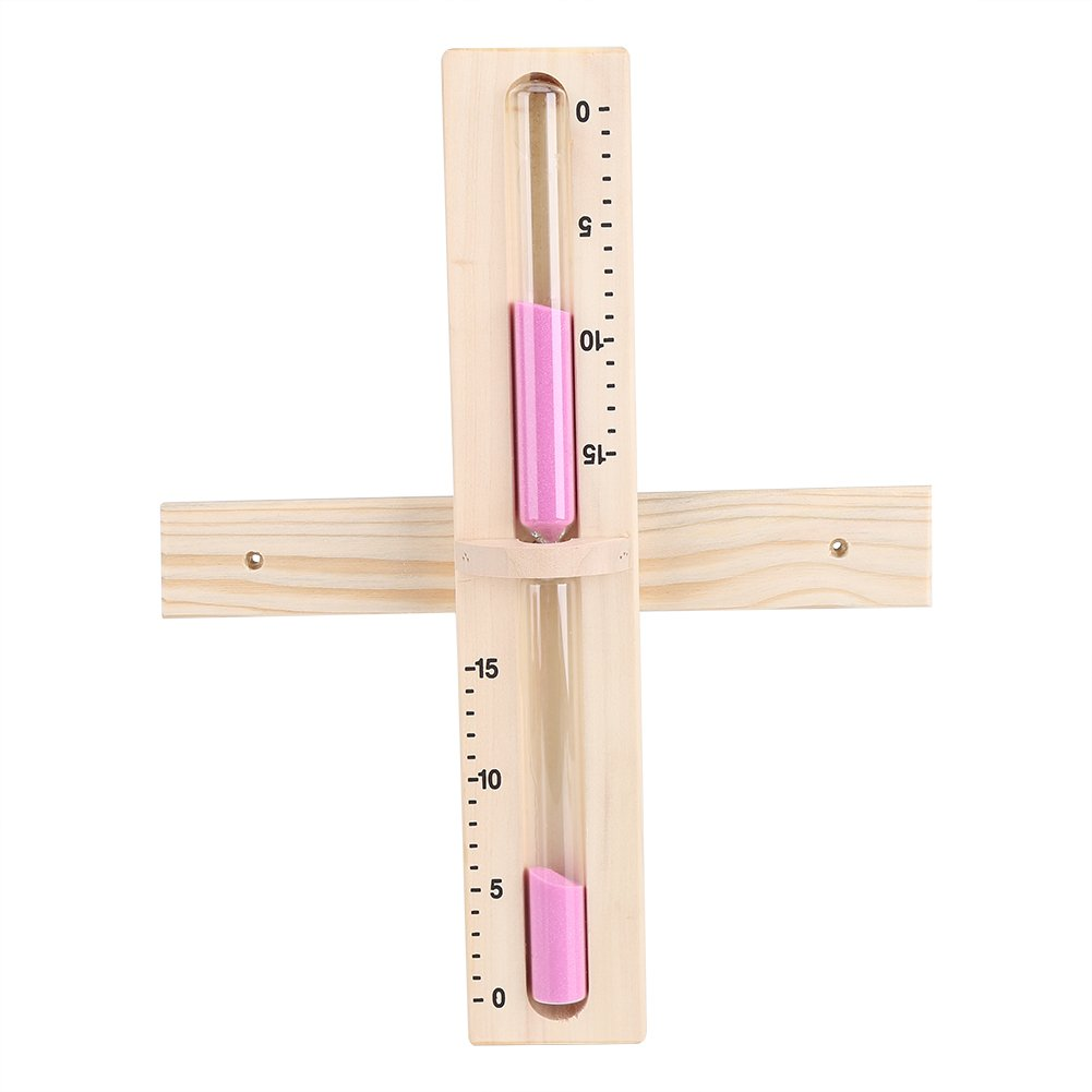 Sauna Accessory - Delaman 15 Minutes Sauna Sand Clock, Glass Timer Wall-Mounted, Wooden Hourglass with Pink Sands