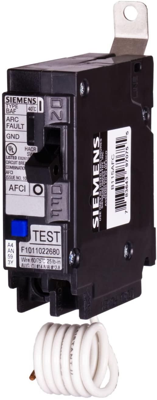 Siemens Siemens, 20 Amp, Single Pole, 120 Volt, 10,000 AIC, Bolt On, Combination AFCI Breaker