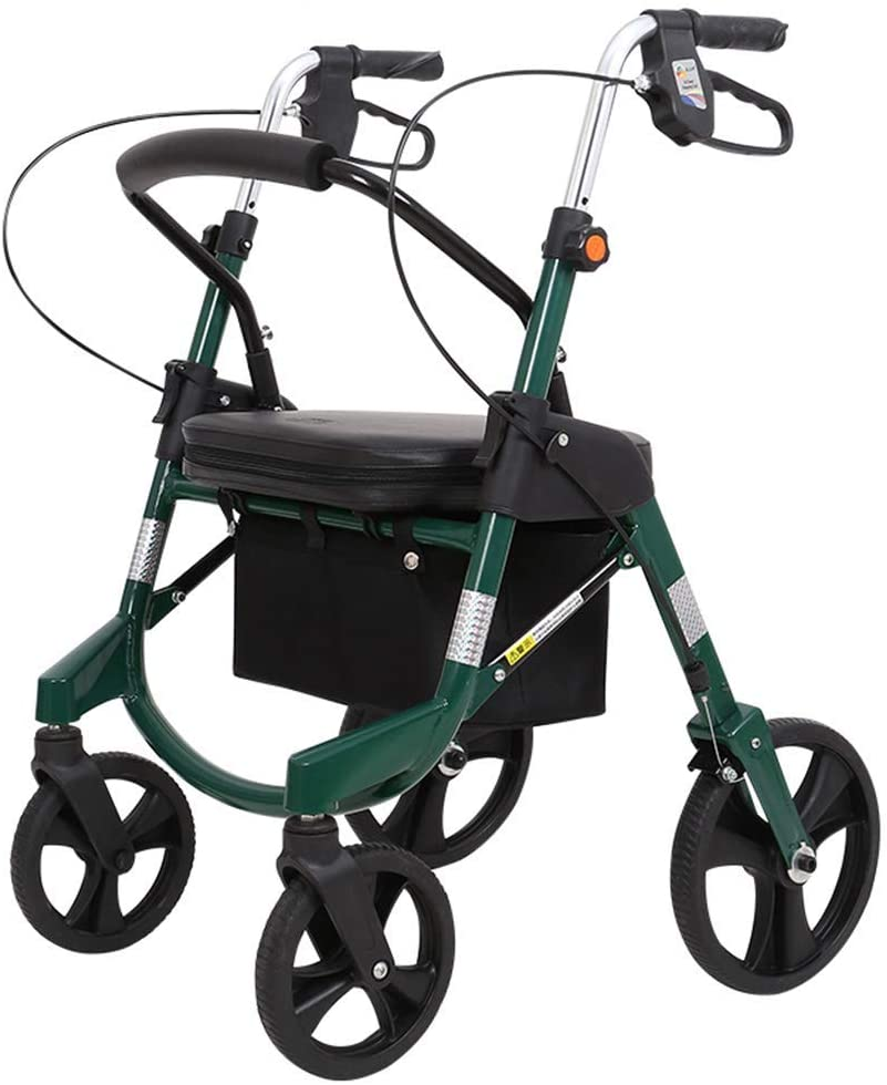HTLLT Walking Aid Walkers for Seniors with Seat, Lightweight Folding Height Adjustable Walker for Seniorsand Removable Back Support, Padded Seat with Casters