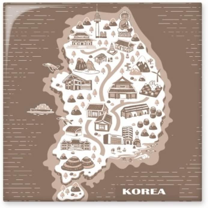 Korean Map Seoul and Busan Ceramic Tile Glossy Decal Glazed Brick Adorn Stone