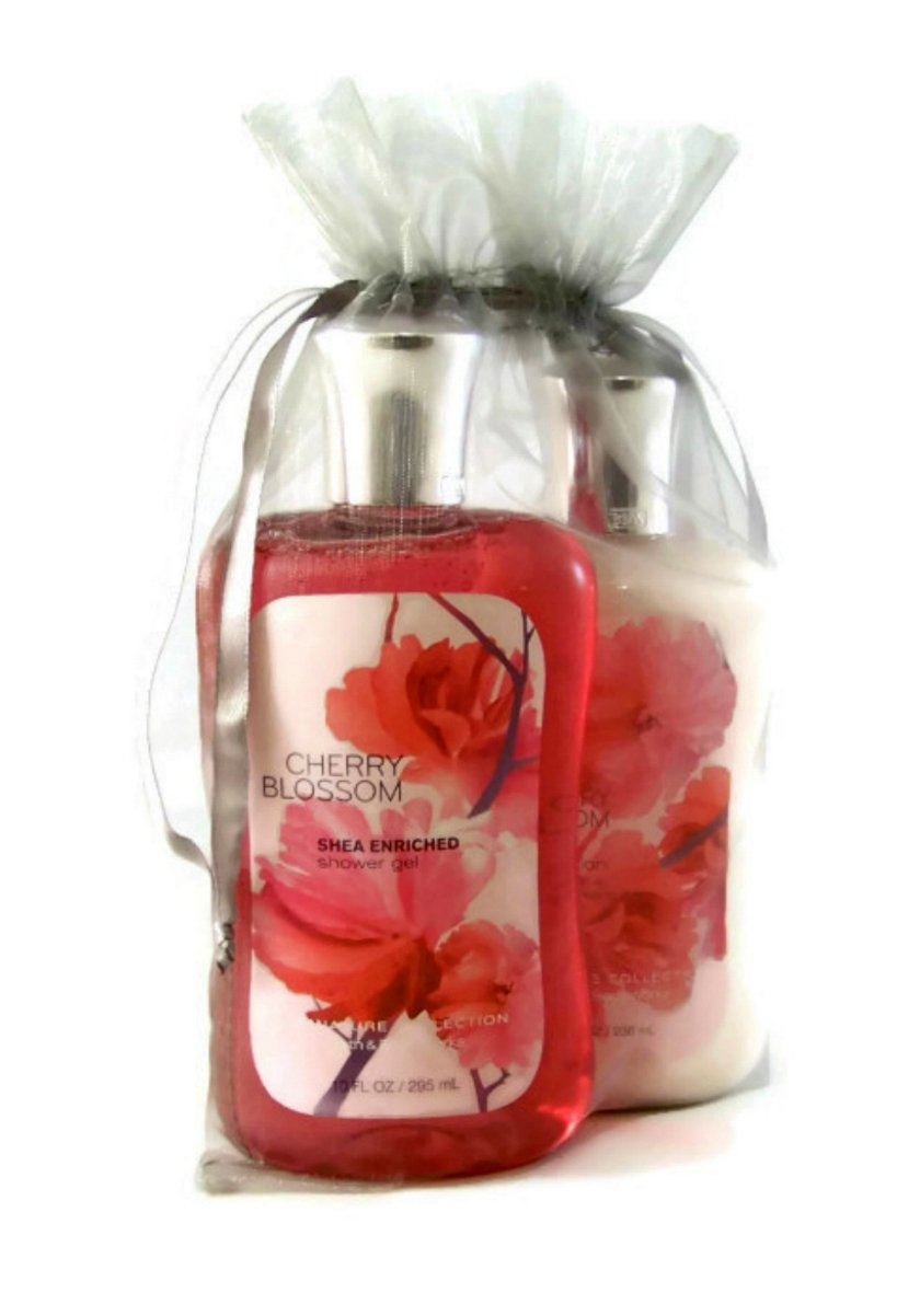 Bath & Body Works Cherry Blossom Gift Set Bundle of 2 Items: Shower Gel and Body Lotion