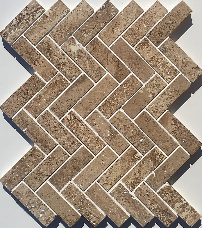 Noche Travertine 1 x 3 Herringbone Mosaic Tile Backsplash