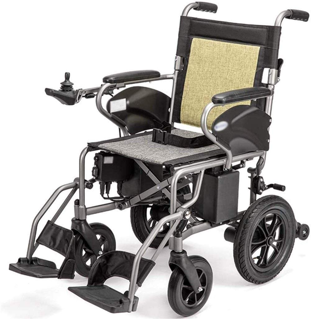 BXZ Wheelchair Heavy-Duty Electric Wheelchair, Foldable, 25Kg Lightweight Power Wheelchair, 360° Rocker, Seat Width 41 cm, Support 100 Kg, 4 Shock Absorbers Electric Wheelchair for Disabled Elderly