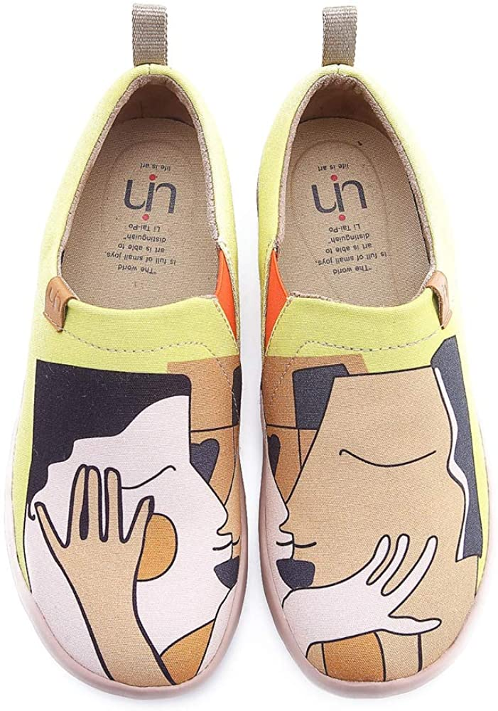UIN Women's Kiss Canvas Couple Loafer Shoes Yellow
