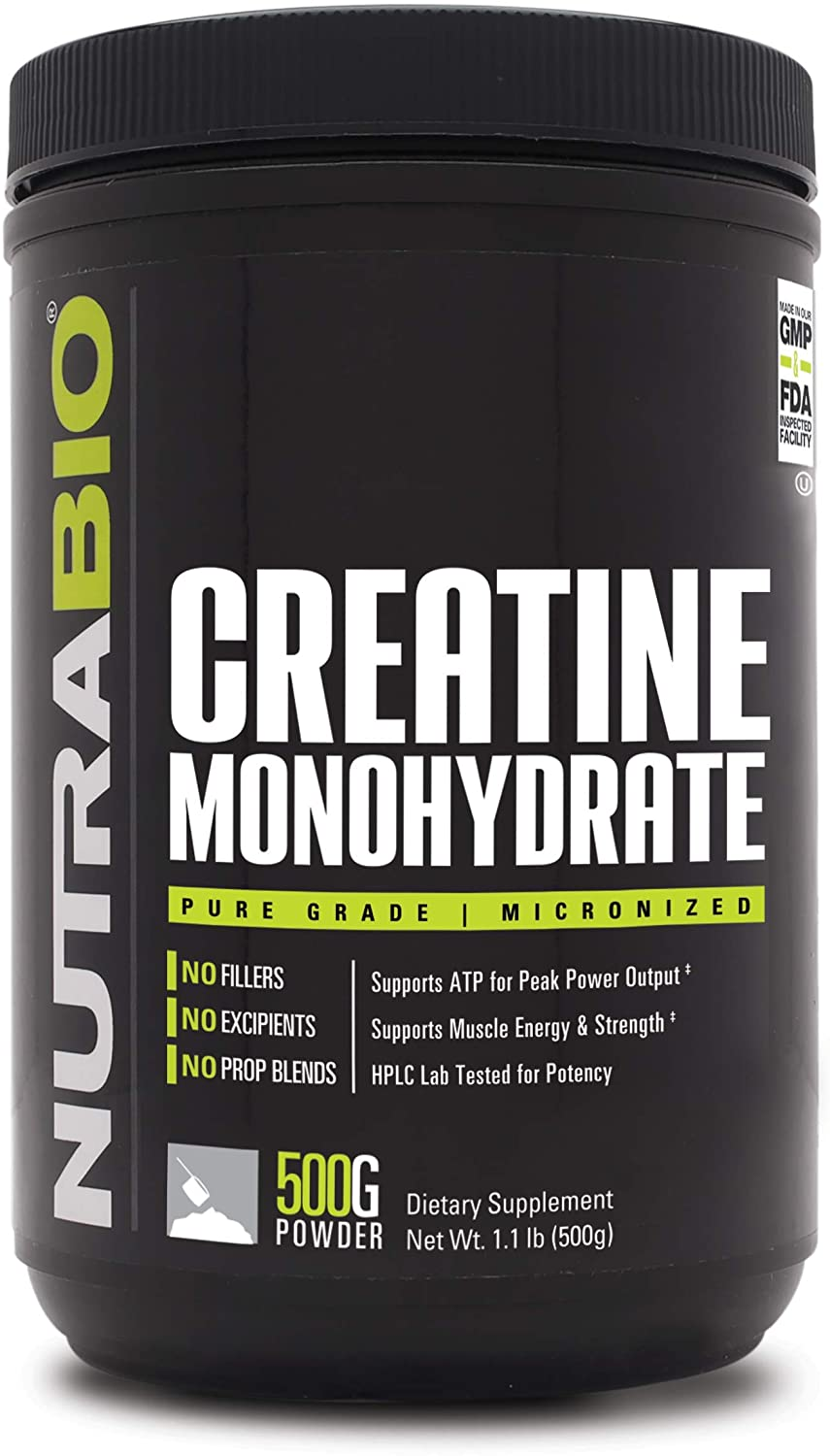 NutraBio Creatine Monohydrate (500 Grams) - Micronized, Unflavored, HPLC Tested