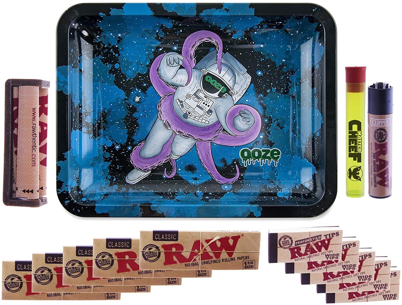 Master Cheef Roll Your Own Pro Bundle - RAW KIT - Ooze Kosmic Kraken Rolling Rolling Tray