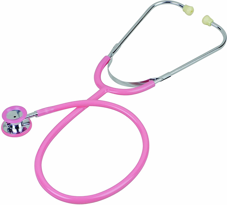 Veridian 05-11810 Heritage Series Chrome-Plated Zinc Alloy Pediatric Dual Head Stethoscope, Pink