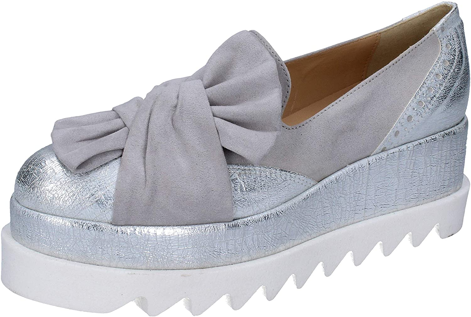 Olga RUBINI Loafers-Shoes Womens Leather Grey