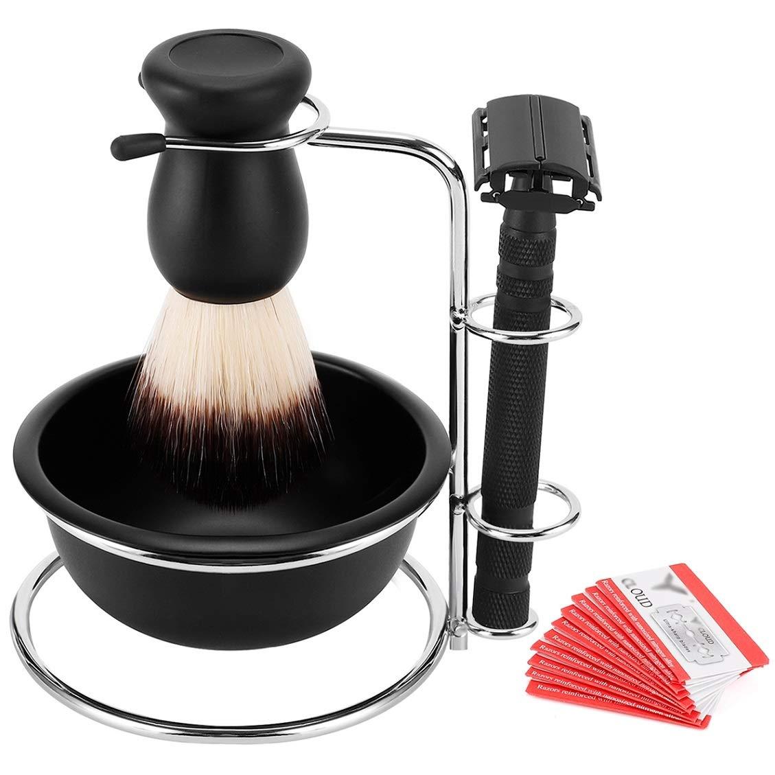 SANWA Men's Wet Shaving Kit - Universal Shaving Stand,Friendly Brush,Shaving Soap Bowl Mug for Cream,Safety Razor with 10 blades,Nice Gift for Dad, boyfriend, Husband,Father's Day