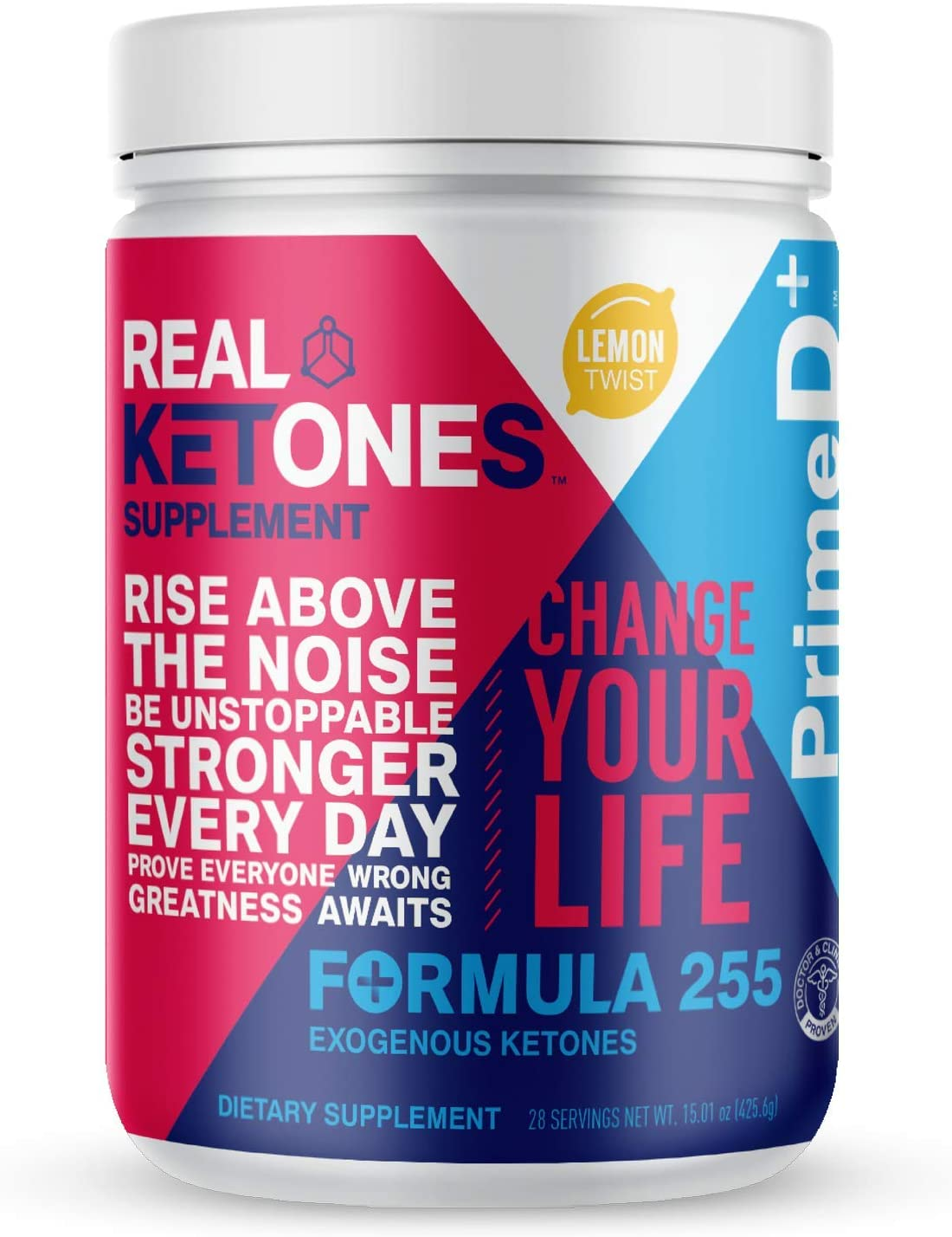 Real Ketones™ Prime D+ Exogenous Keto BHB + MCT Oil- 28 Servings- Drink Mix Powder Supplement with Electrolytes – Lemon Twist- Ketosis in 1 Hour