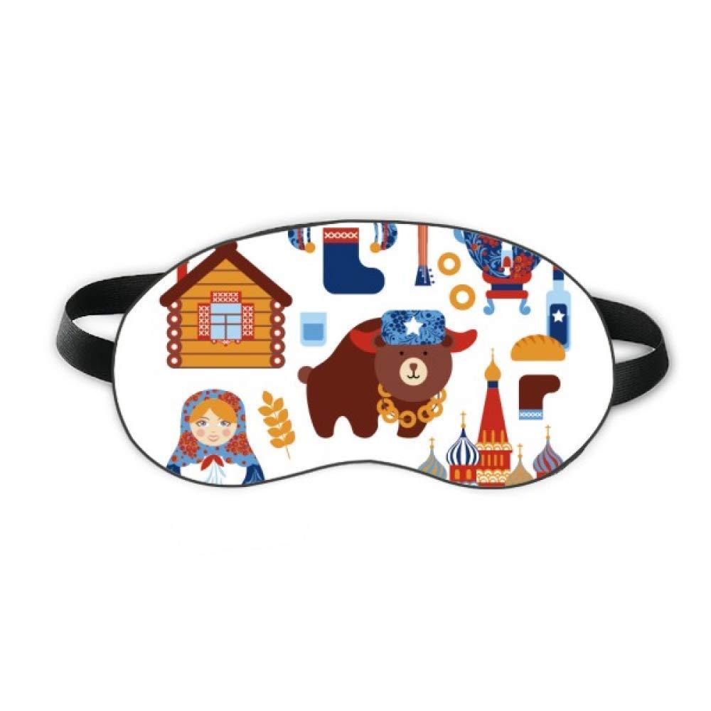 Russia National Symbol Landmark Pattern Sleep Eye Shield Soft Night Blindfold Shade Cover