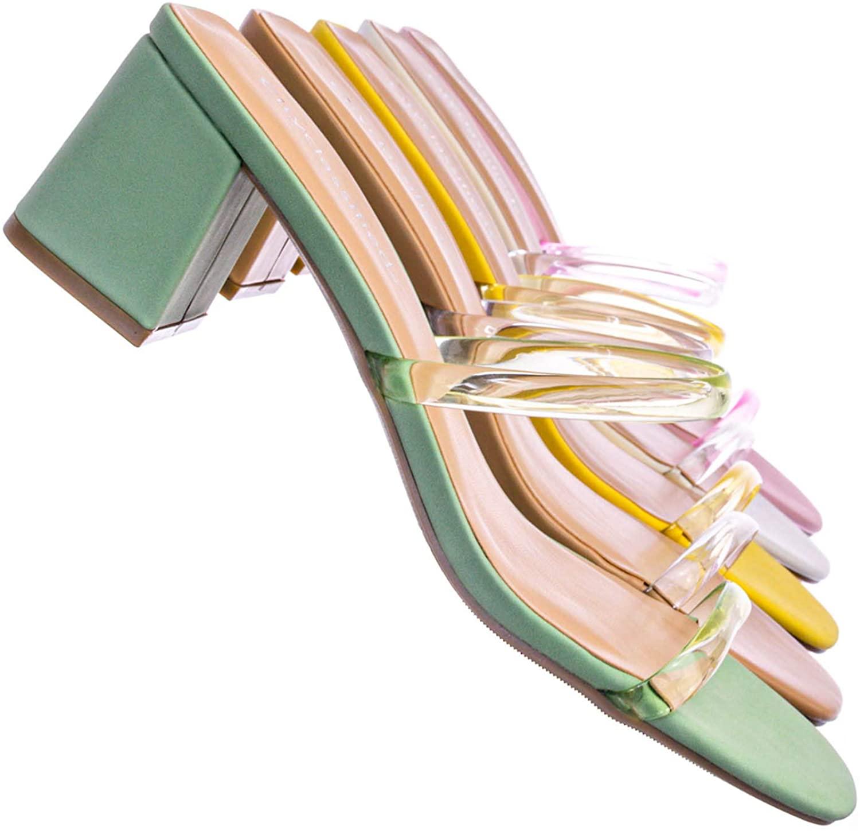 Jelly Strappy Heel Slide Mules - Women Transparent Square Open Toe Slipper