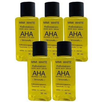 (5 bottles) MIMI WHITE AHA Lightening bleaching dark spot white remove dark skin cell 30ml.