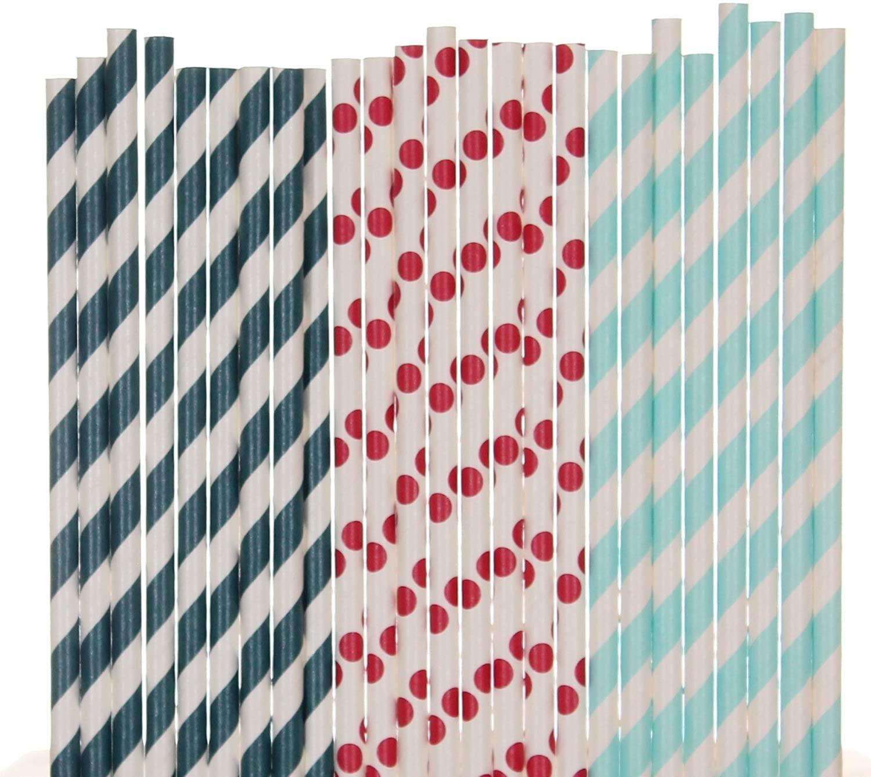 Biodegradable Paper Straws Mix, Nautical Patriotic, Red Navy Blue Light Blue, Striped Polka Dot (50)