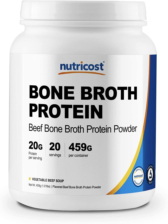 Nutricost Beef Bone Broth Protein Powder (20 Serv) Vegetable Beef Soup Flavor - Gluten Free, Non-GMO