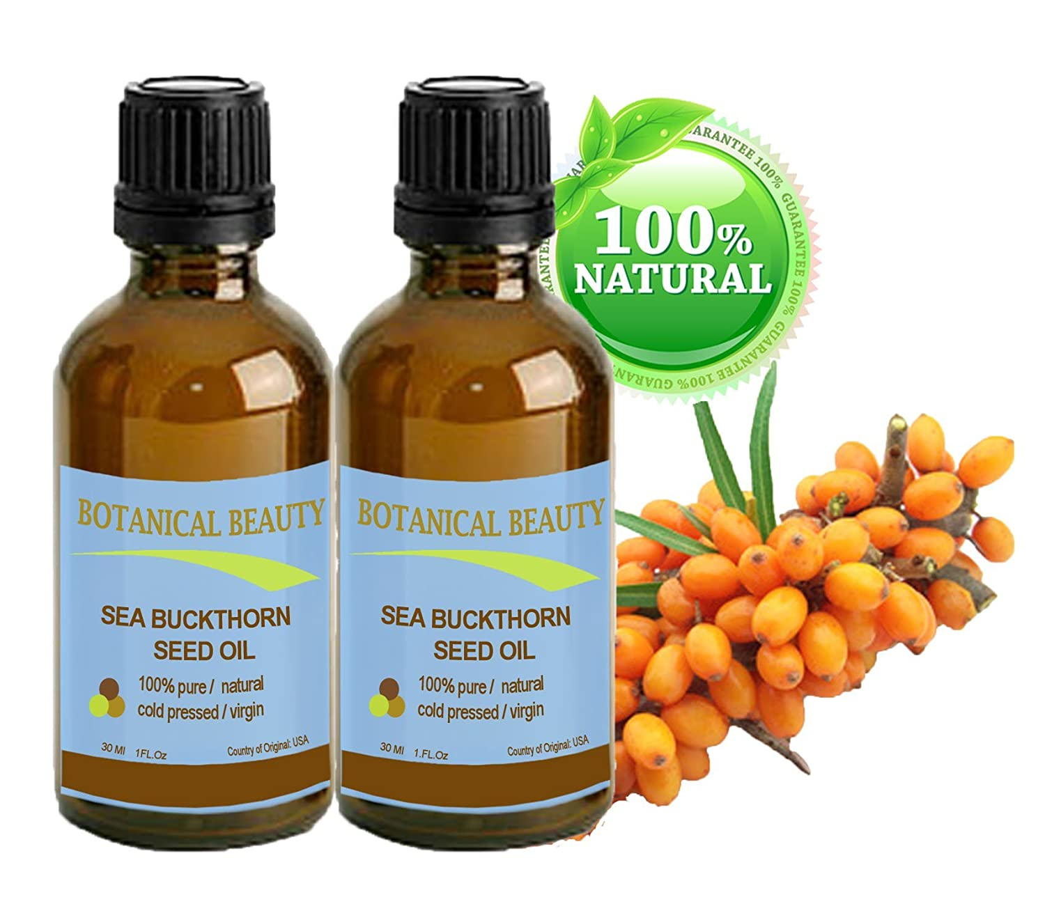 Botanical Beauty SEABUCKTHORN SEED OIL 100% Pure. Skin Care. Effectively reduces wrinkles, dryness and skin lines. 1 Fl.oz.- 30 ml. (pack-2)