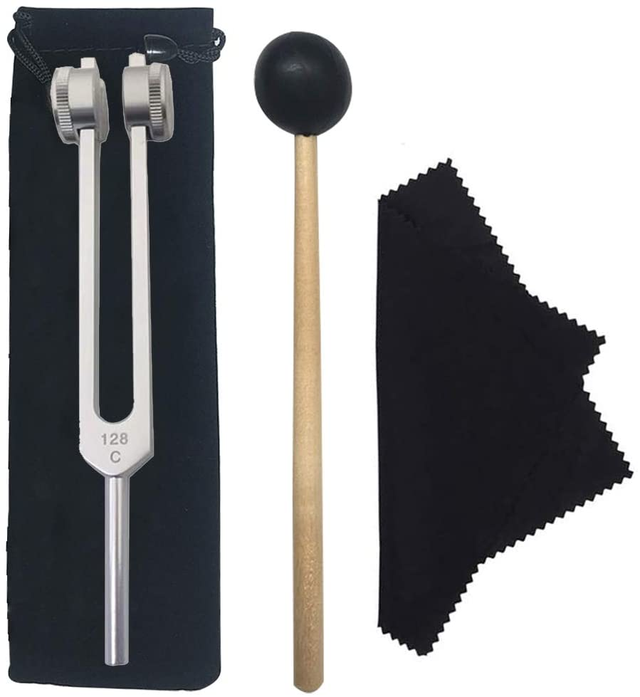 MEIYIN 128Hz Tuning Fork with Bag Hammer and Cloth for Ultimate Healing and Relaxation