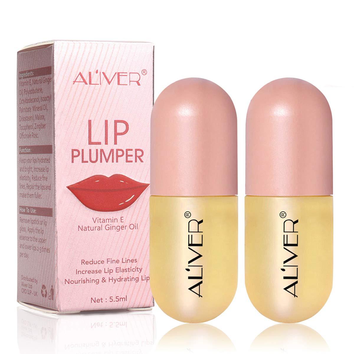 Lip Plumper Gloss - 2PC, Natural Lip Plumper Oil,Lip Enhancer, Lip Plumping Balm, Moisturizing Clear Lip Gloss for Fuller Lips & Beauty Lips 5.5 mL