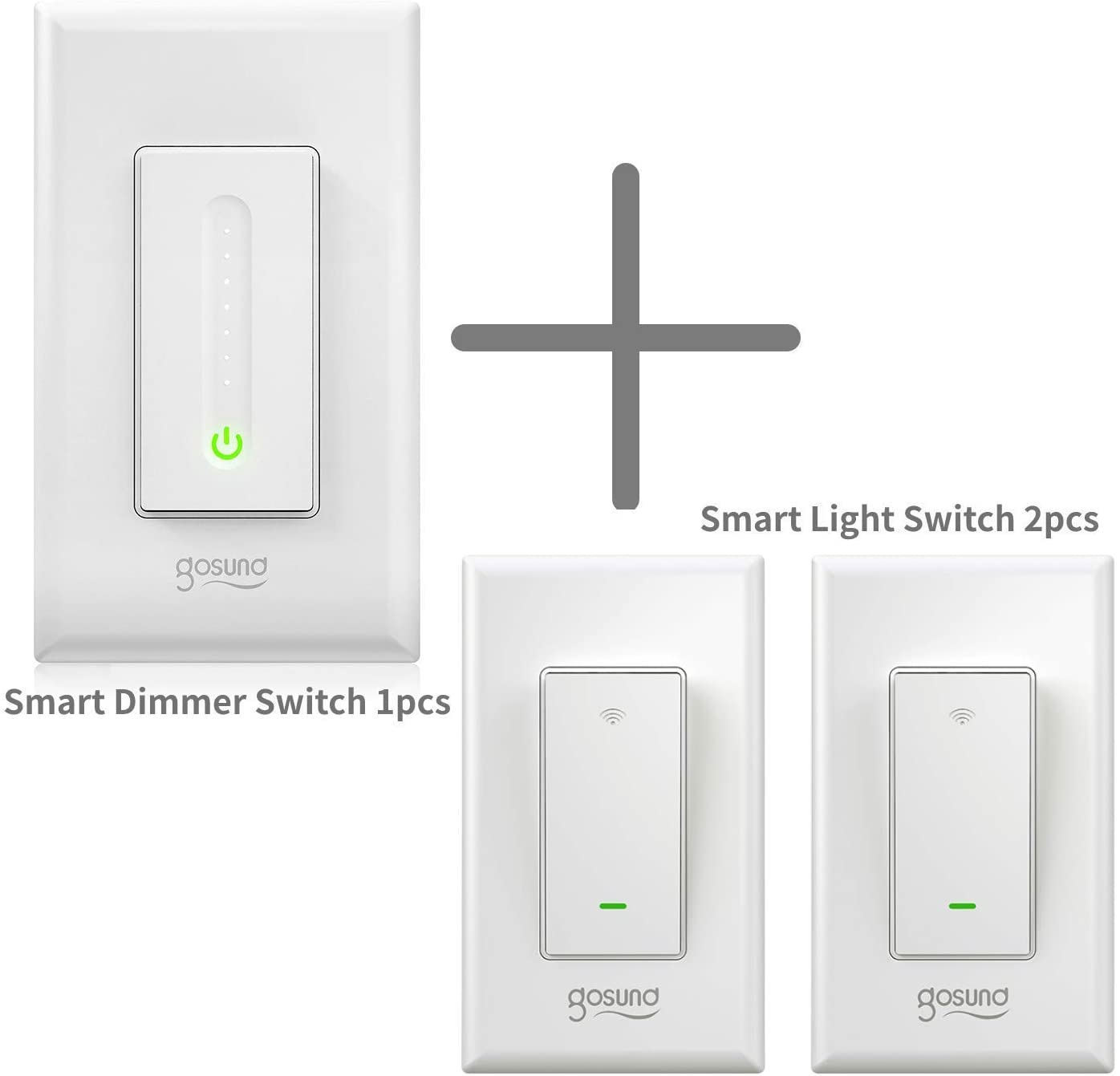Gosund Smart Wifi Switch Bundle, Smart Dimmer Switch 1pcs and Smart Light Switch 2pcs that Compatible with Alexa and Google Home