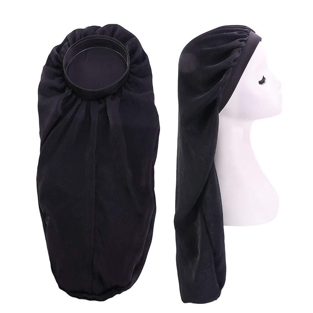 Extra Long Silky Satin Bonnet Sleep Cap Long Bonnet Cap for Braids Hair Loose Cap (Black)