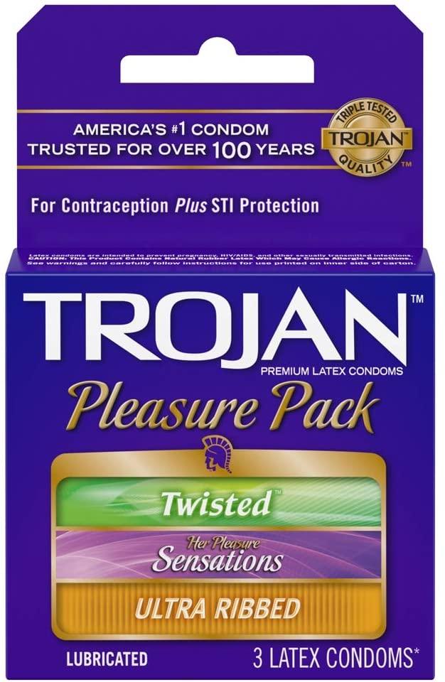 Trojan Pleasure Pack Lubricated Premium Latex Condom - (1 x 3 Ea)