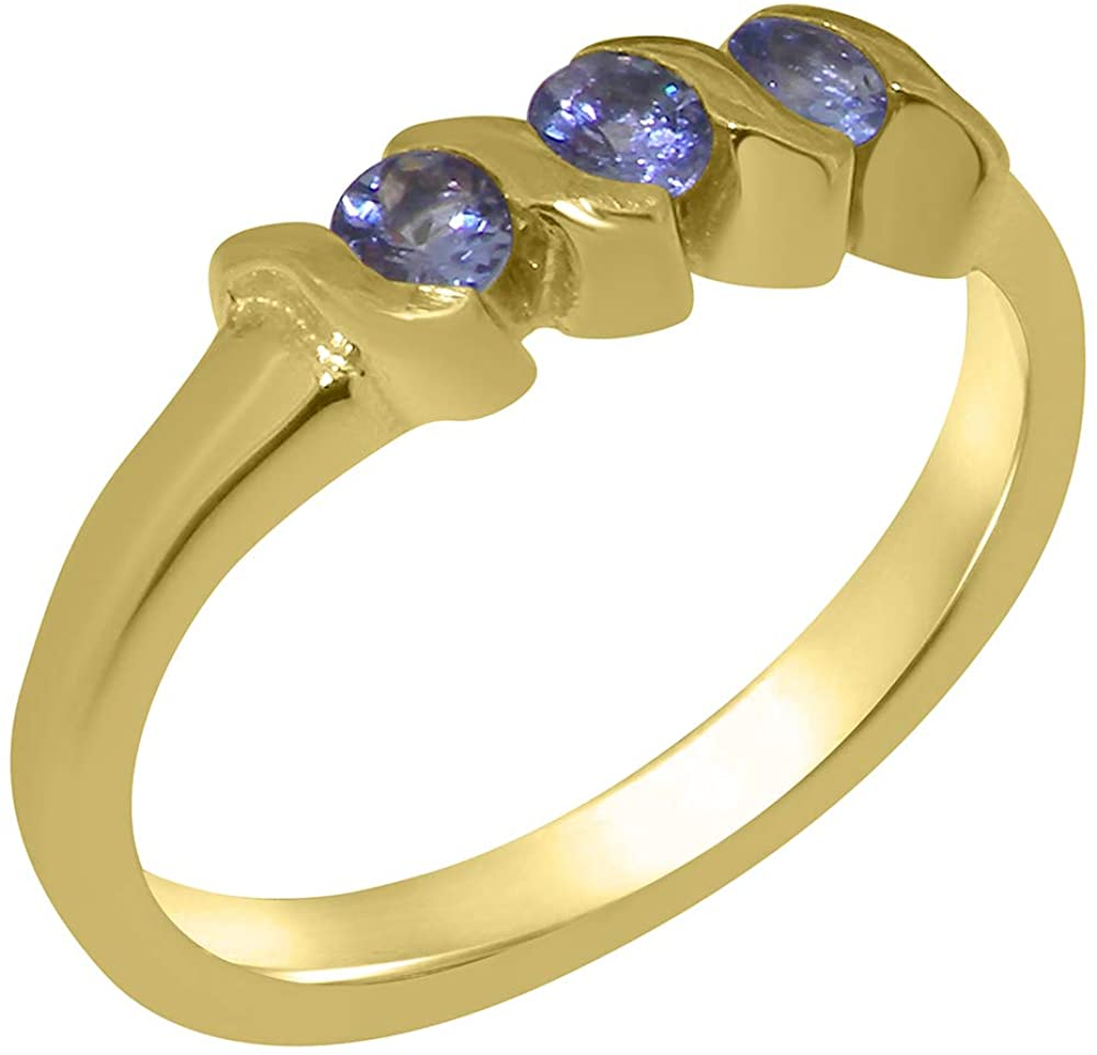 Solid 10k Yellow Gold Natural Tanzanite Womens Trilogy Ring - Sizes 4 to 12 Available