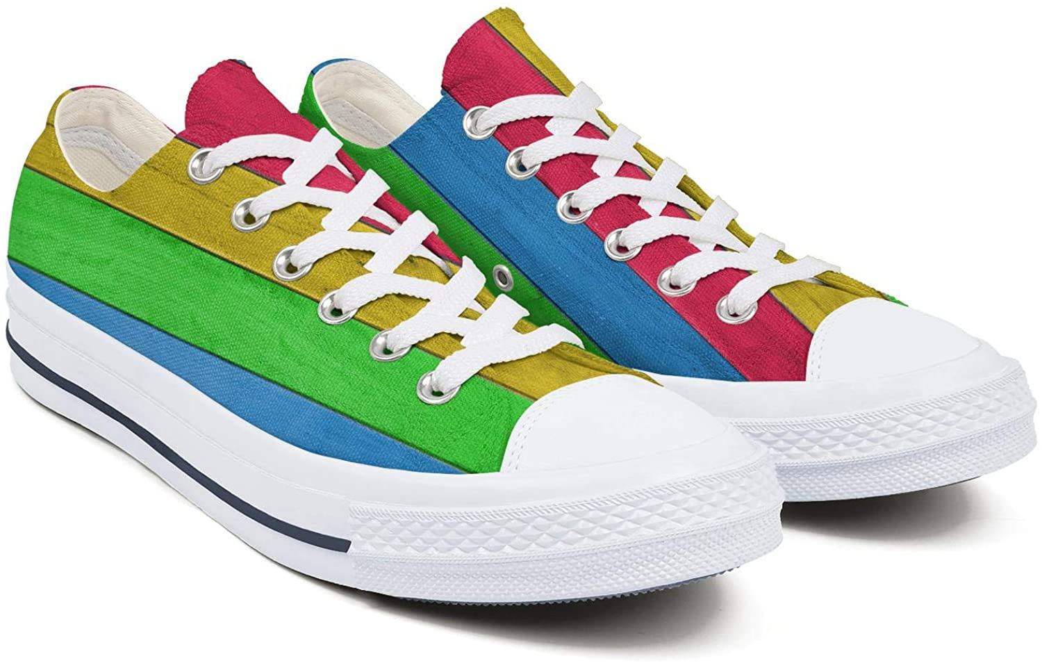 Women's Low-Cut Laced Canvas Shoes Creative Wood Plank Gay Pride Non-Slip Durable Shoes Daily Leisure Shoes