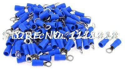 Davitu Terminals - 100 Pcs RV2-4 AWG 16-14 Blue PVC Sleeve Non Insulated Ring Terminals Connector