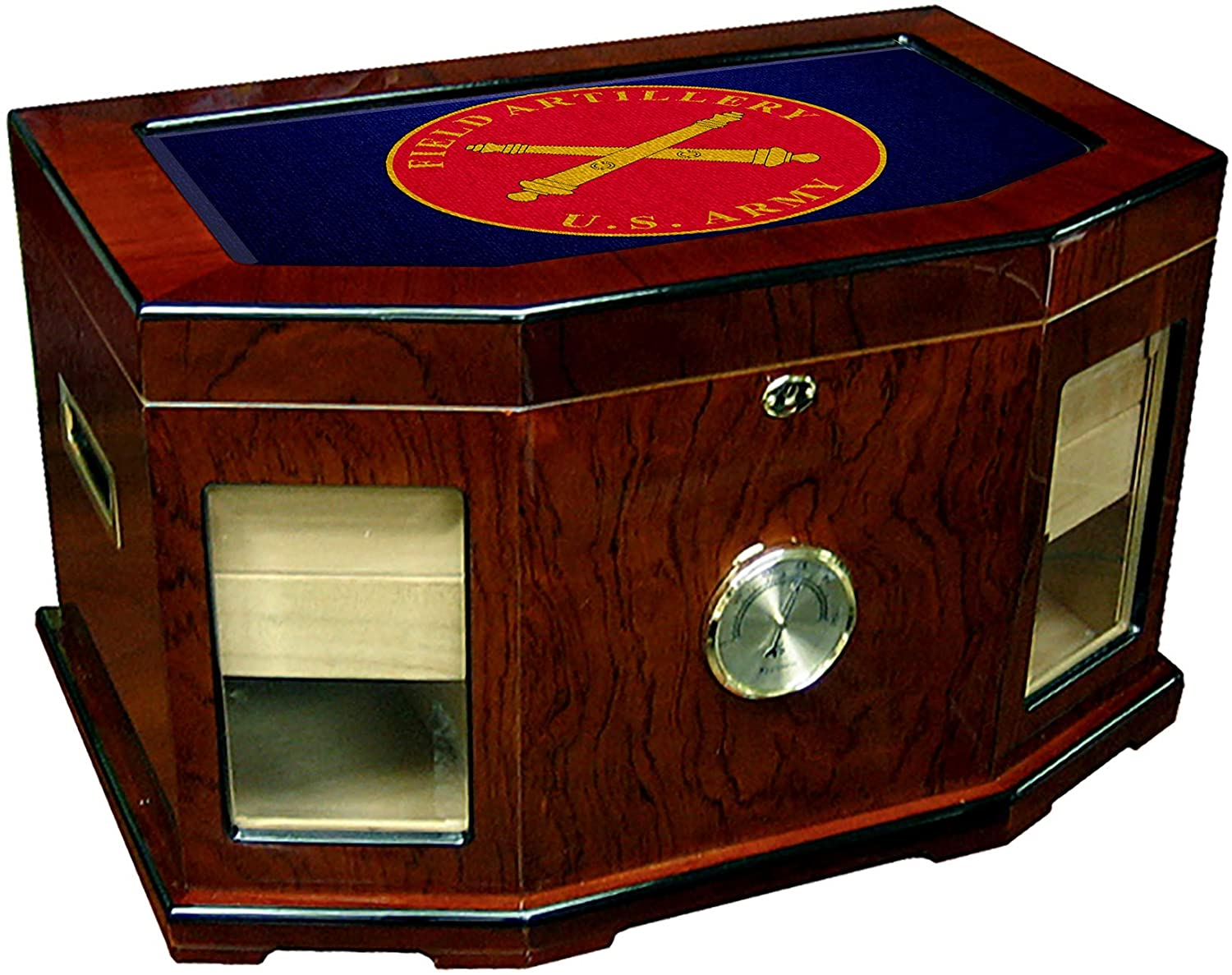 Large Premium Desktop Humidor - Glass Top -US Army Field Artillery, Branch Plaque