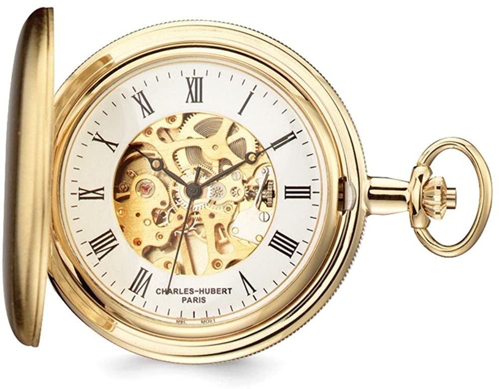 Sonia Jewels Charles Hubert Gold Men's Finish Skeleton Dial Pocket Watch 14.5